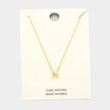 N Cubic Zirconia Monogram Pendant Necklace