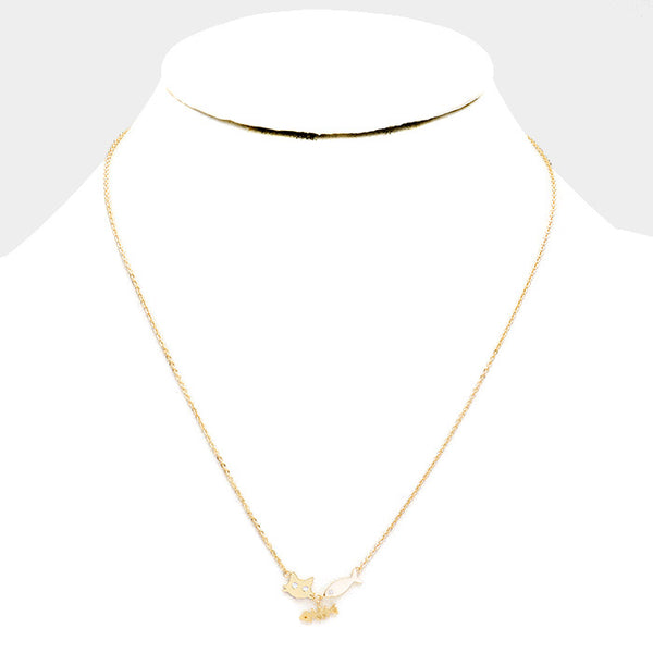 Gold Dipped Cubic Zirconia Cat Fish Pendant Necklace