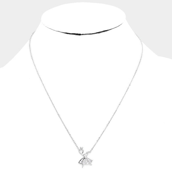 White Gold Dipped Cubic Zirconia Ballerina Pendant Necklace