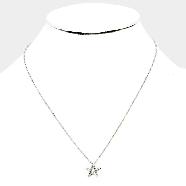 White Gold Dipped Cz Star Pendant Necklace