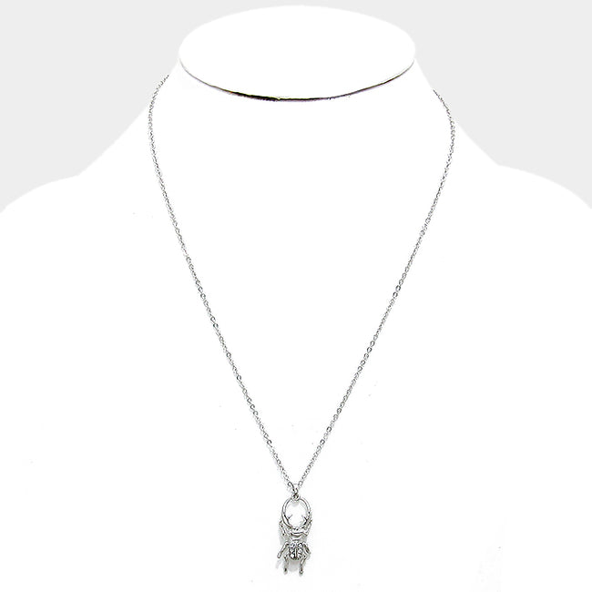 Crystal Longhorned Beetle Pendant Necklace