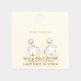 White Gold Dipped Cubic Zirconia Pearl Dangle Earrings