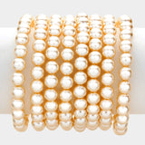 8Pcs - Pearl Stack Stretch Bracelets