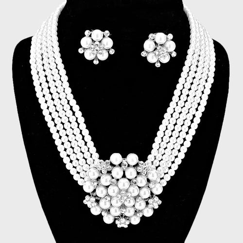 Pearl Cluster Flower Necklace & Clip On Earring Set