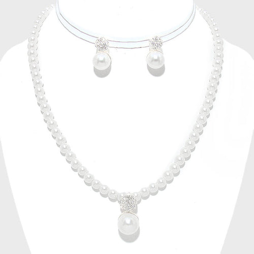 Pearl Drop Pave Disc Accented Necklace