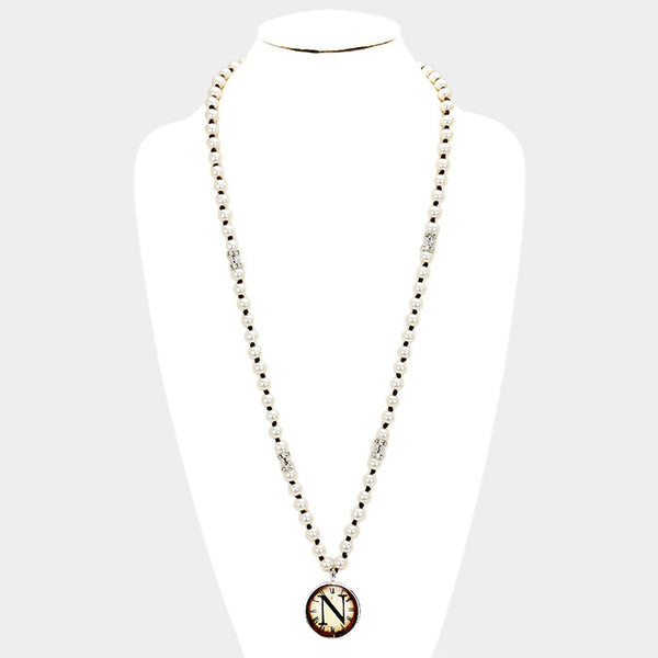n Monogram Pearl Beaded Watch Printed Long Necklace