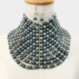 Multi Strand Pearl Collar Choker Necklace