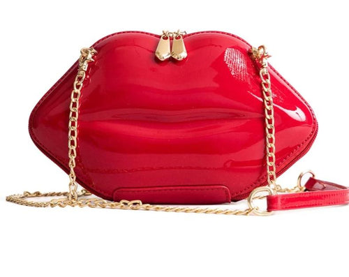Patent Leather Sexy Red Lips Bag