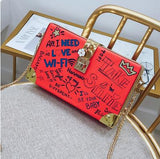 Personality Doodle Cartoon Pattern Clutch Bag
