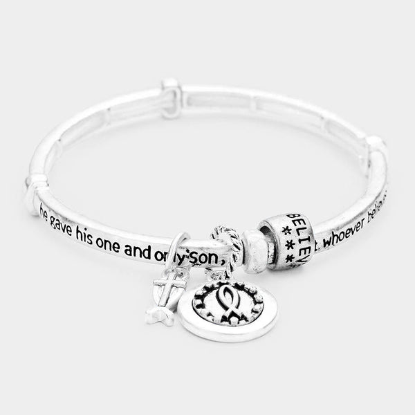 John 3:16 Cross Charm Stretch Bracelet