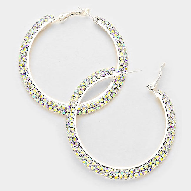 2 Row Crystal Rhinestone Hoop Earrings