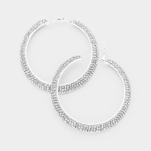 "3.25"" 3rows Crystal Rhinestone Hoop Earrings"