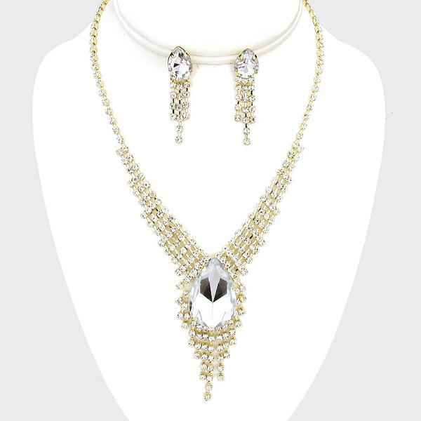 Rhinestone Teardrop Fringe Necklace