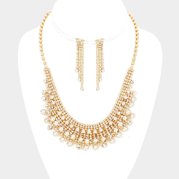 Pave Crystal Rhinestone Bubble Necklace