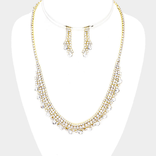 Rhinestone Pave Crystal Teardrop Trim Necklace