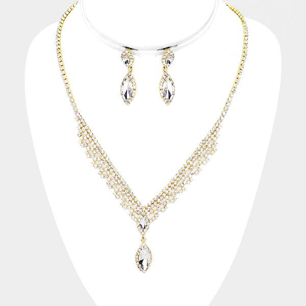 Crystal Marquise Oval Rhinestone Pave Accented Necklace