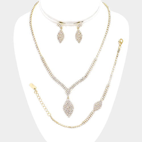 3Pcs - Crystal Rhinestone Necklace Jewelry Set