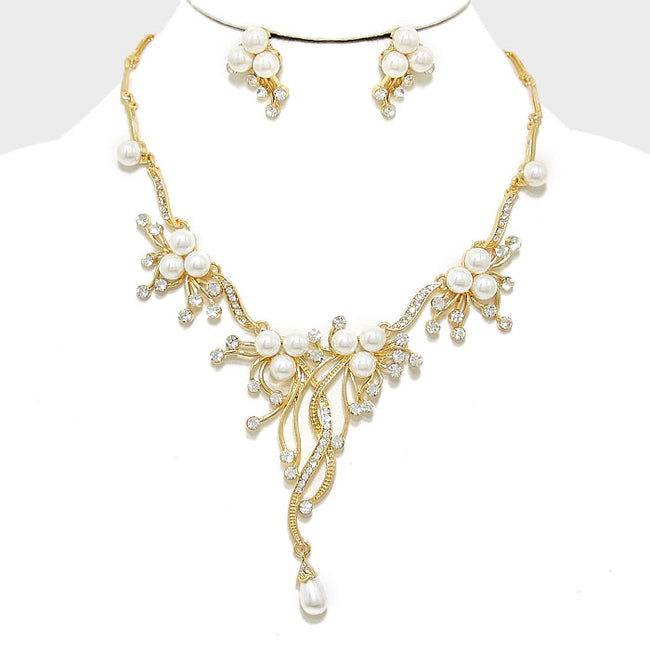 Pearl Accented Floral Rhinestone Necklace