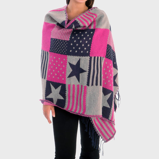 Block Pattern American Flag Shawl Scarf With Fringe