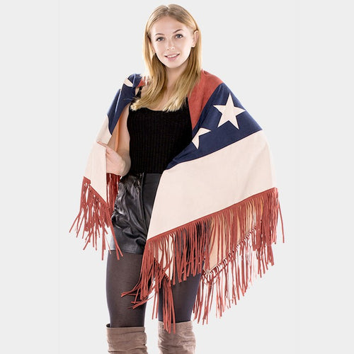 American Flag Fringe Faux Suede Triangle Scarf