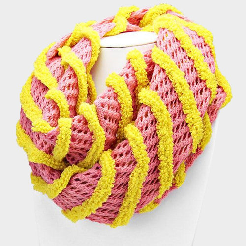 Striped Fishnet Infinity Scarf