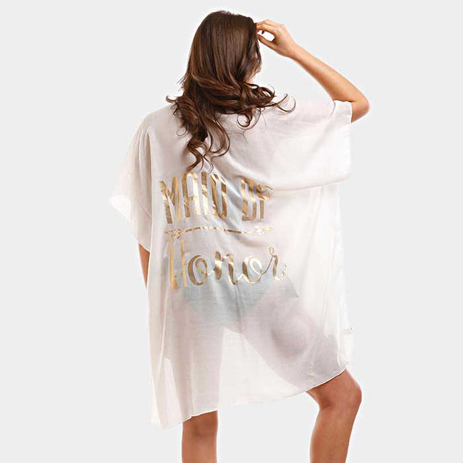 """Maid Of Honor"" Solid Lettering Cover Up Poncho"