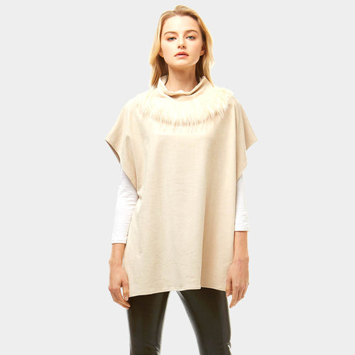 Suede Feel Turtle Neck Faux Fur Poncho