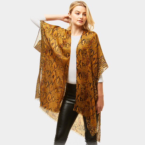 Snake Print Cover Up Poncho