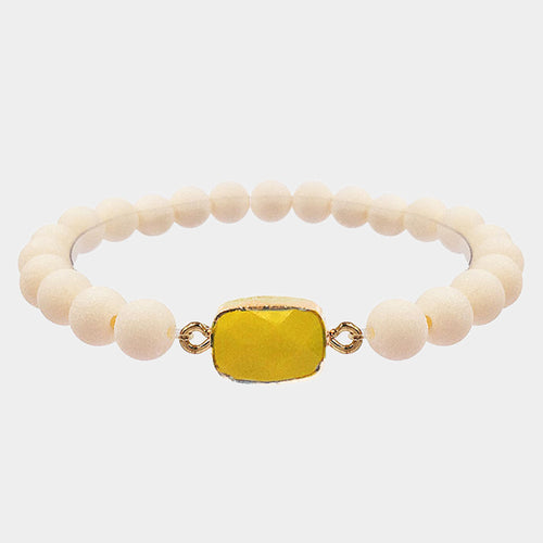 Rectangle Stone Accented Beaded Stretch Bracelet