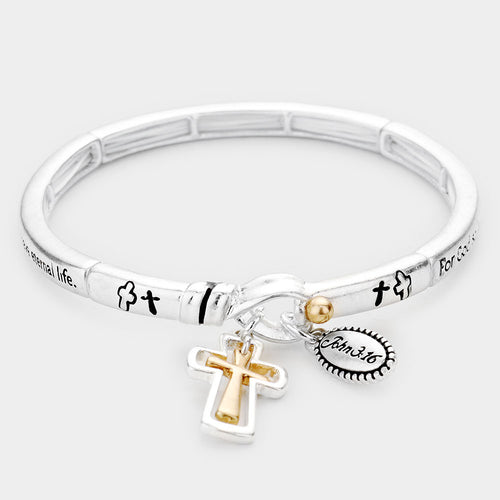 John 3:16 Cross Charm Metal Message Stretch Bracelet