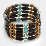 Wooden Beads & Glass Beads Stretch Bracelet