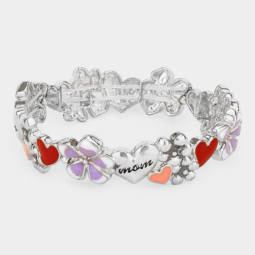 Mom Heart Collage Stretch Bracelet