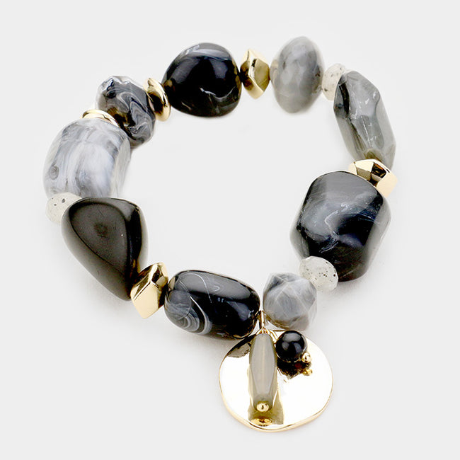 Natural Stone Metal Disc Charm Stretch Bracelet
