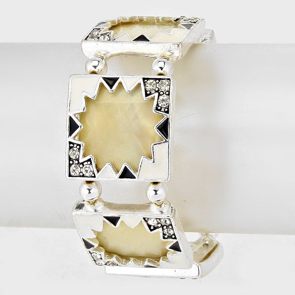 Mother Of Pearl Square Stretch Bracelet