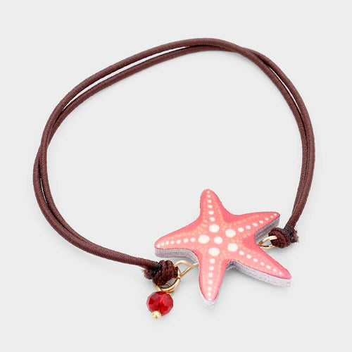 Watercolor Wood Starfish Accented Stretch Bracelet
