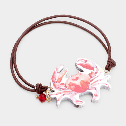 Watercolor Wood Crab Accented Stretch Bracelet