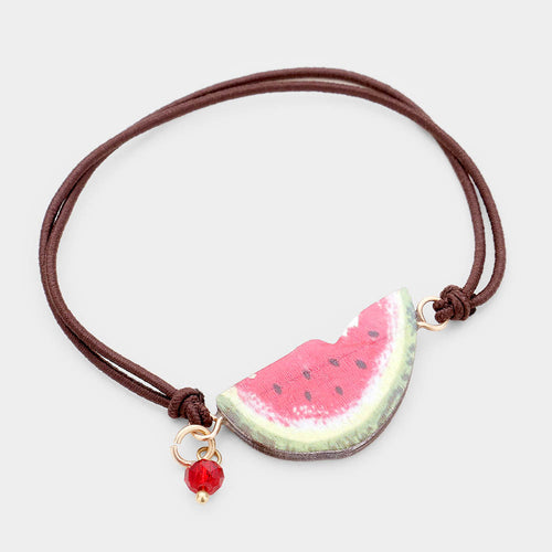 Watercolor Wood Watermelon Accented Stretch Bracelet