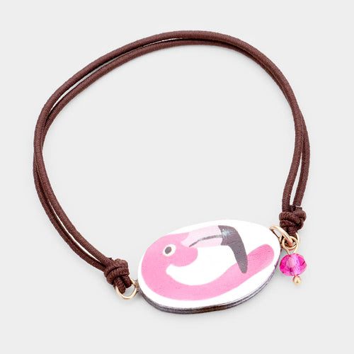 Watercolor Wood Flamingo Accented Stretch Bracelet