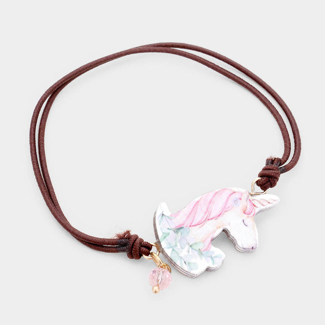 Watercolor Wood Unicorn Accented Stretch Bracelet