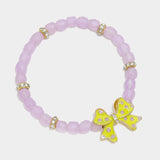 Enamel Bow Beaded Stretch Bracelet