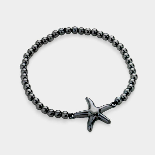 Starfish Accented Metal Ball Stretch Bracelet