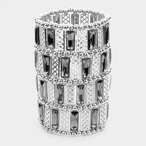 Rectangle Crystal Wide Metal Stretch Bracelet