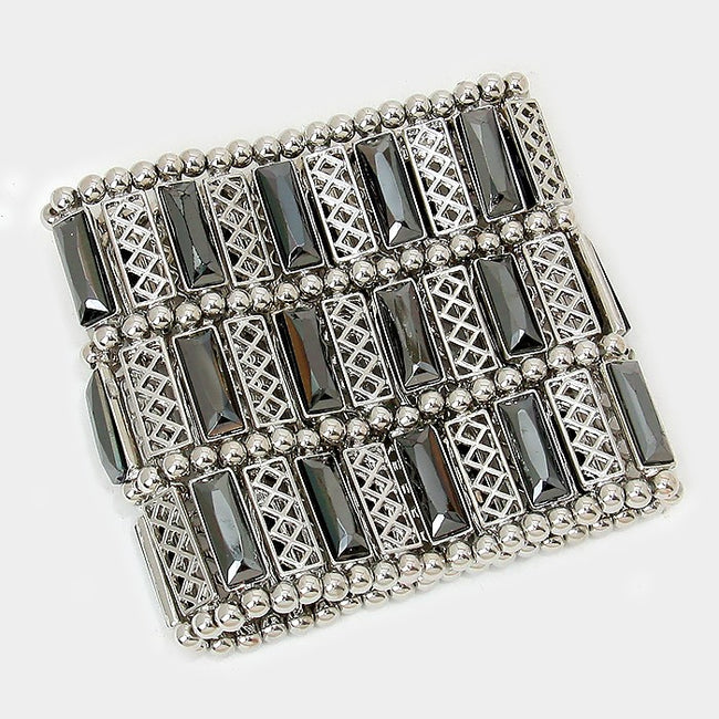 Rectangle Crystal & Metal Stretch Bracelet