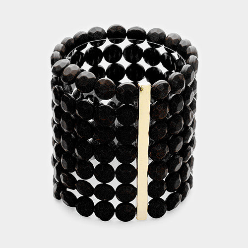 7Rows Wide Faceted Round Beaded Stretch Bracelet
