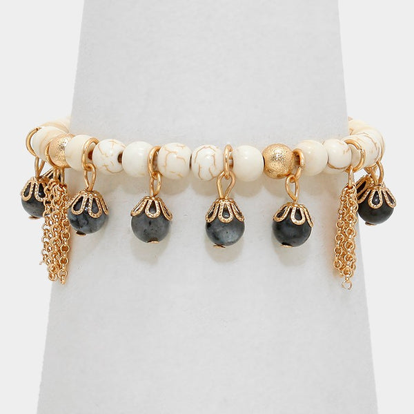 Metal Chain Tassel & Glass Bead Charm Beaded Stretch Bracelet