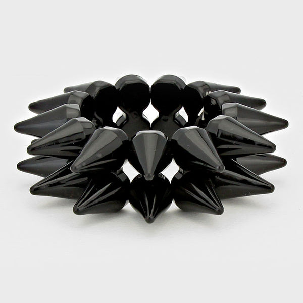 2-row Spike Cone Stud Stretch Bracelet