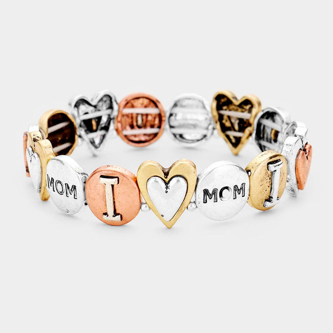 Mom Heart Embossed Metal Stretch Bracelet