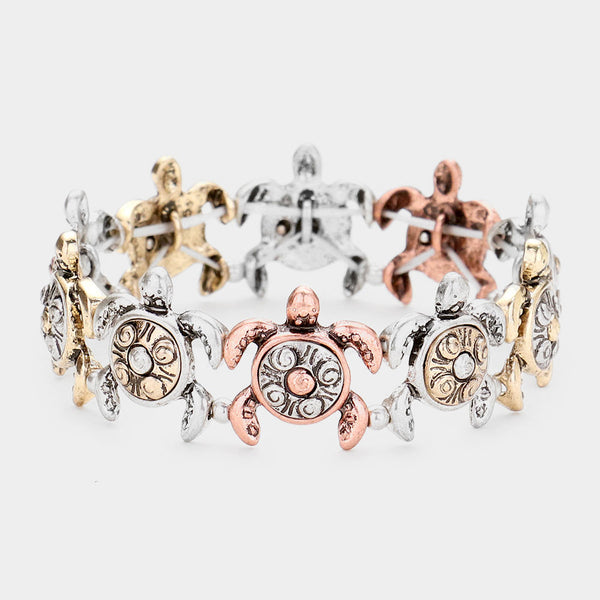 Burnished Metal Turtle Stretch Bracelet