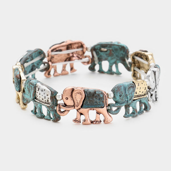 Antique Metal Elephant Stretch Bracelet
