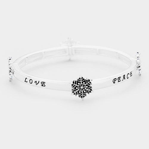 """Love Peace...."" Snowflake Stretchable Metal Bracelet"